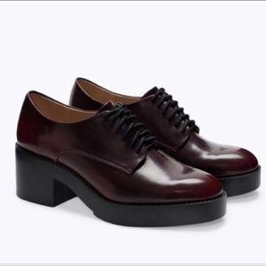 Zara oxblood platform Oxford shoes